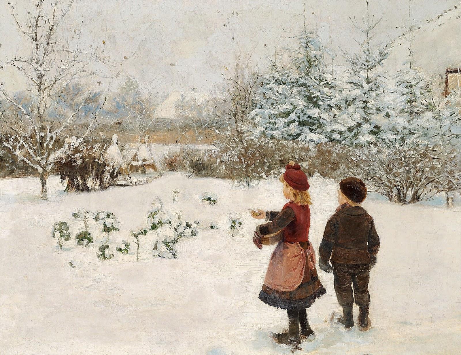 Hans Andersen  rendekilde To b C  rn fodrer fugle i sneen