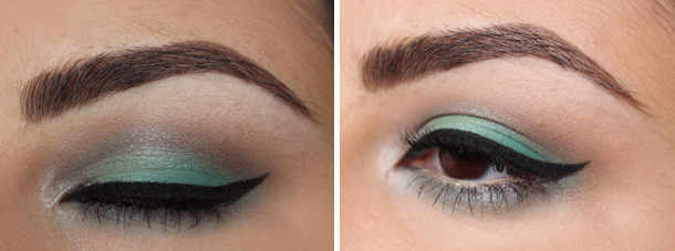 green pastel spring fling coastal scents eyeshadow makeup look brown eyes