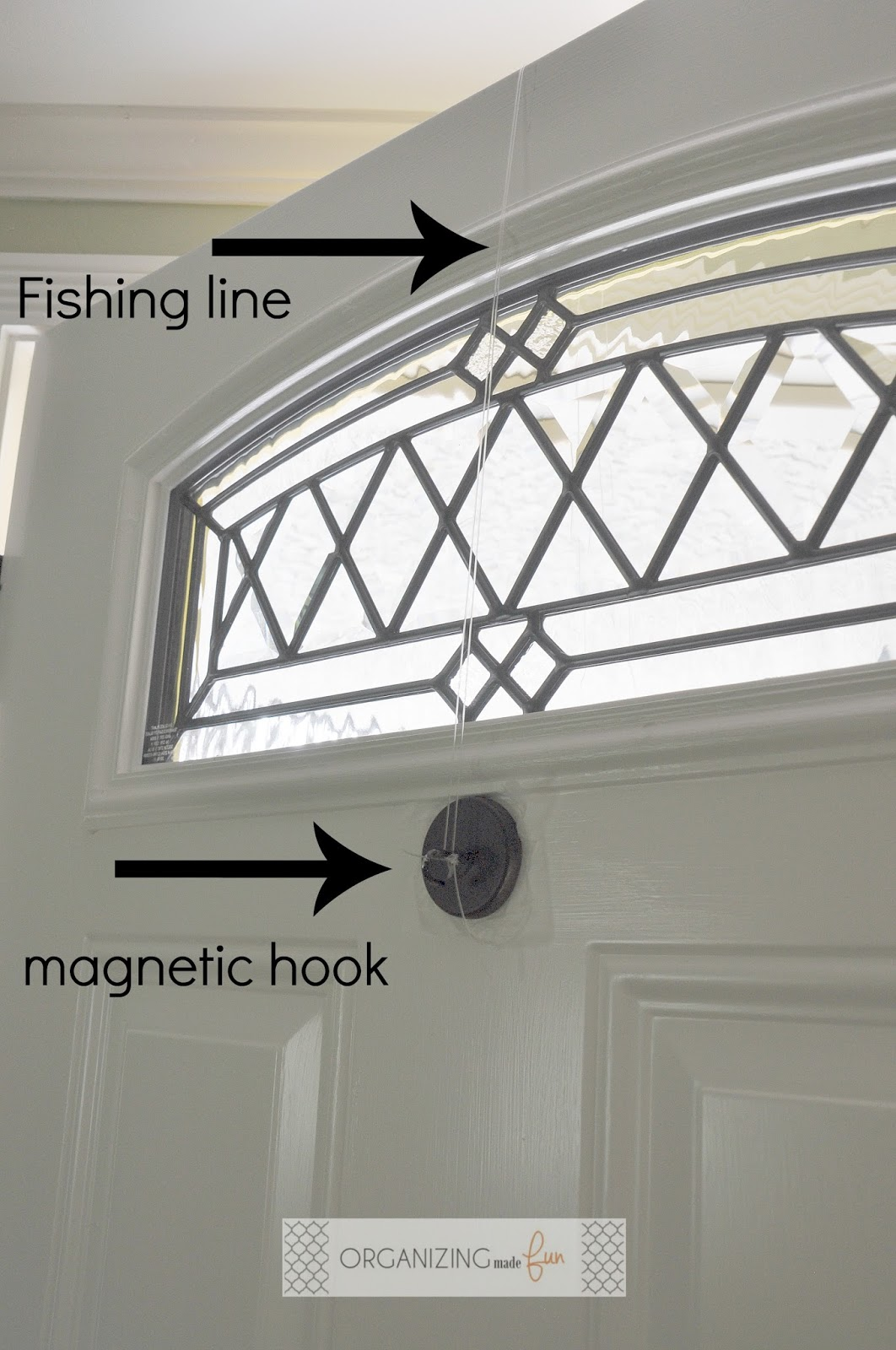 Use Fishing Line And A Hook On The Back Of The Door To Hang Wreath :
