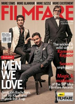 Mr. Bachchan, Saif Ali Khan And Prateik @ Filmfare Cover !
