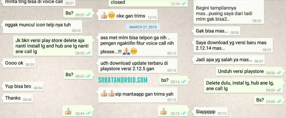 WhatsApp Voice Call 2.12.5 Versi untuk Aktifkan Fitur Telepon