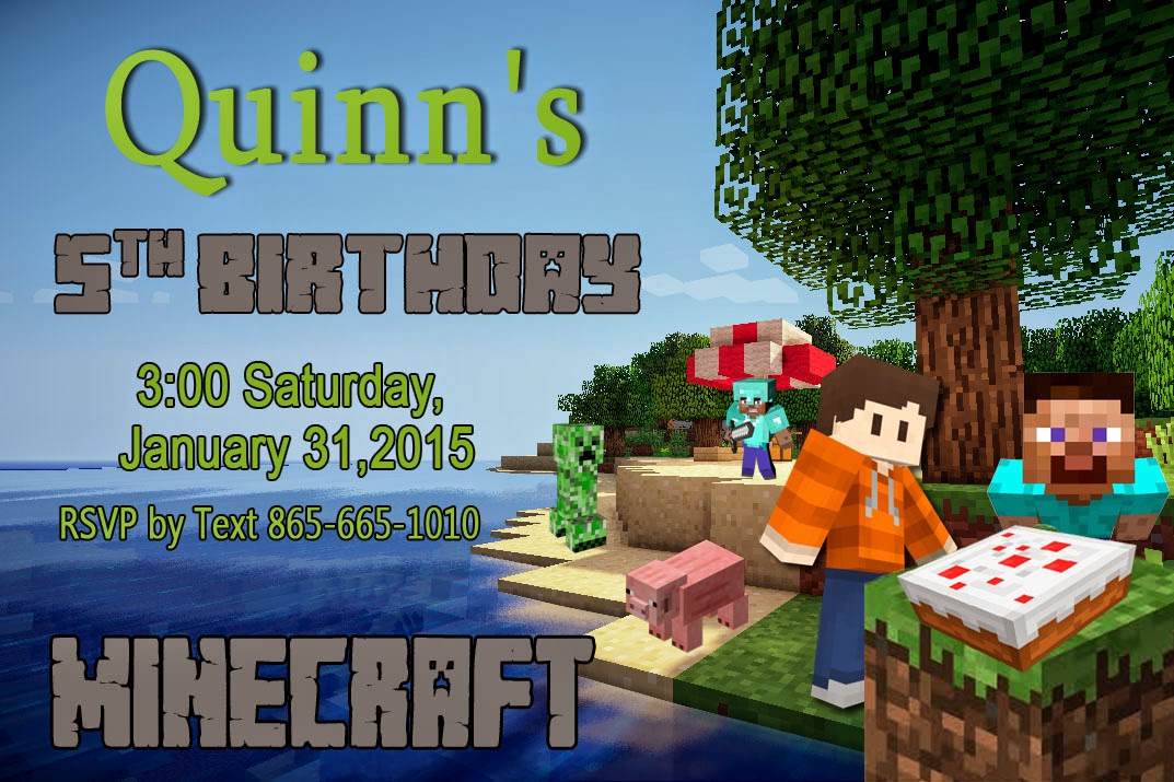 Life of a Vertically Challenged Mom Minecraft Birthday Party Time – Mine Craft Invitation Template