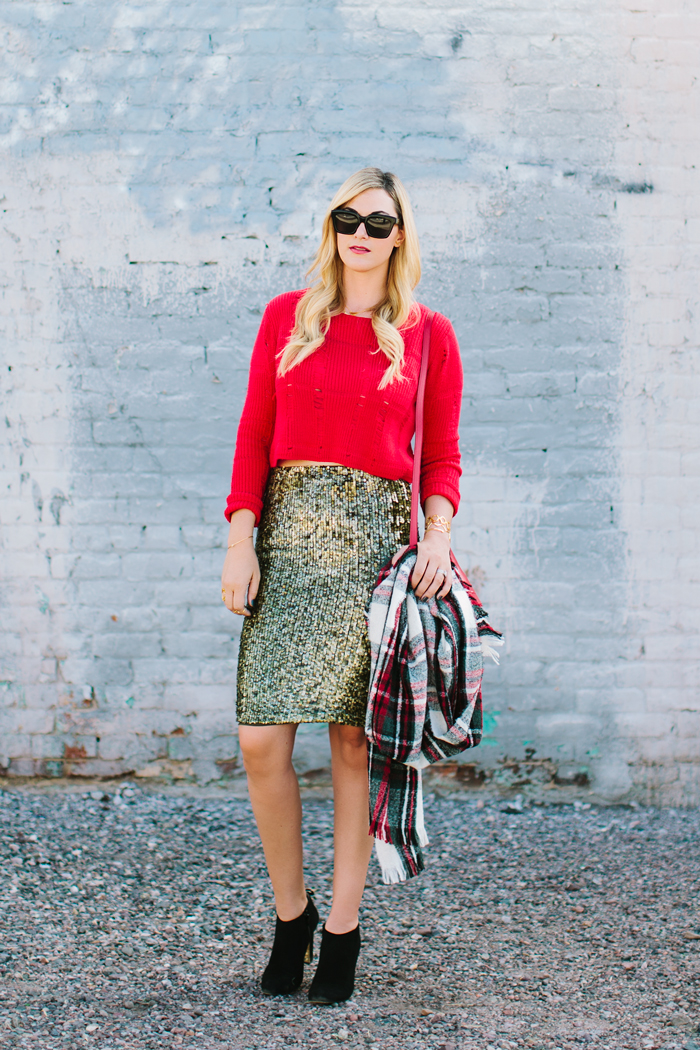 Holiday, Winter, Christmas, Gold, Sequin, Alice and Olivia, Pencil Skirt, Red, Topshop, Crop, Sweater, Celine, Sunglasses, Ralph Lauren, Newbury, Double Zip, Shopper, Bag, Cross Body, Shoulder Strap, Purse, YSL, Rouge Volupte Shine, Luisa Brini, Wool, Plaid, Scarf, Kate Spade, Suede, Boots, Booties, Caitlin Lindquist, A Little Dash of Darling, Outfit Ideas, Outfit Inspiration, Christmas Outfit, Holiday Outfit, Phoenix, Arizona, Scottsdale, Gorjana