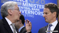Bank of England Governor Sir Mervyn King, New York Fed President Timothy Geithner