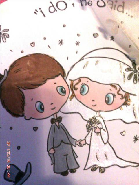 I have coloured the image with Promarkers and highlighted the wedding dress