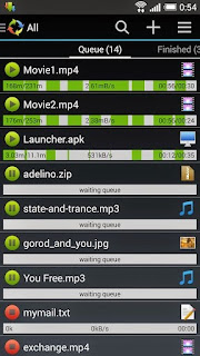 Screenshots of the Advanced Download Manager for Android tablet, mobile phone.
