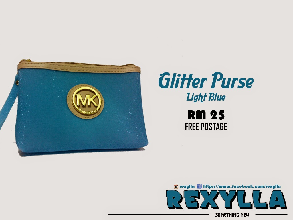 rexylla, glitter purse, light blue