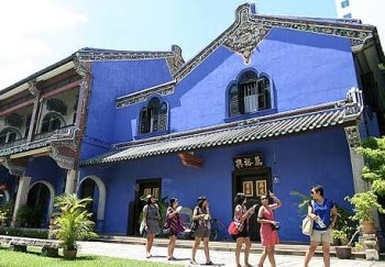 True blue: The Cheong Fatt Tze Mansion in Penang. The historical structure was also featured as the title picture for the Lonely Planet list.