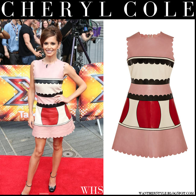 Cheryl Cole in pink paneled scalloped leather mini dress RedValentino july 16 what she wore x factor