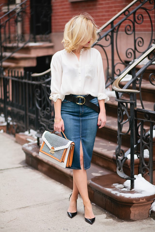how to wear new denim styles like jean skirts for women