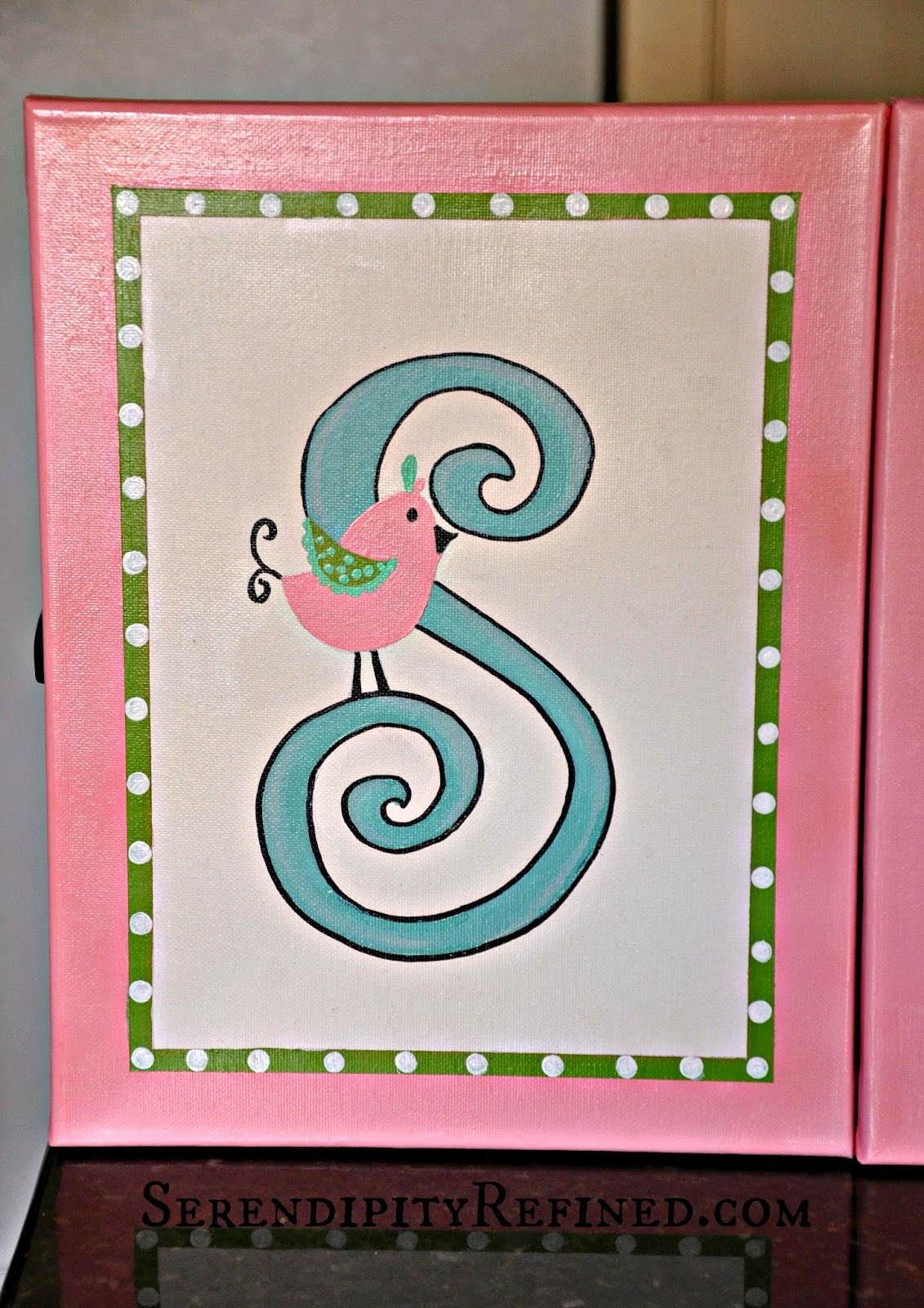 Serendipity refined blog diy canvas name sign nursery for Things to paint on your wall