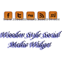 Social Media Sharing Wooden Style Widget
