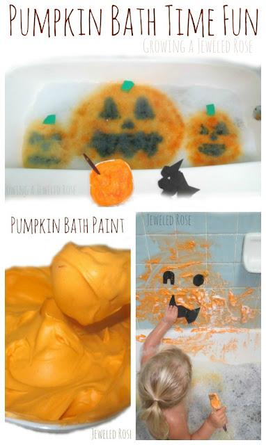Pumpkin bath time fun for kids- bath paint, scented bubbles, & MORE!