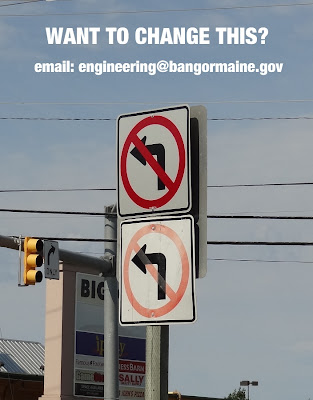 Stillwater Ave,Bangor,Maine,interstate,exit,I95,no left turn,signs