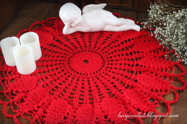 Lacy Crochet Red Doily For Valentines Day Free Vintage Pattern