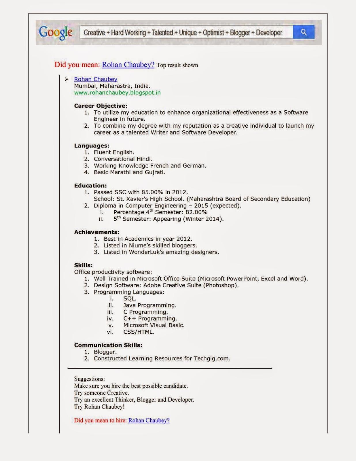 My Google Resume  Google Is My Resume