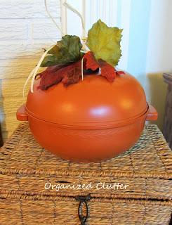 Repurposed Bun Warmer Pumpkin www.organizedclutterqueen.blogspot.com