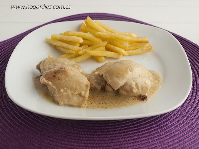Pollo con nata y cebolla