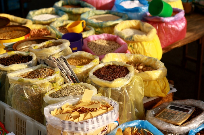 spices and herbs at morning market in penang malaysia