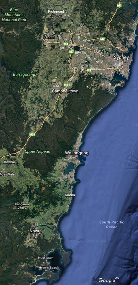 We are in Nowra - see the southern edge of the map