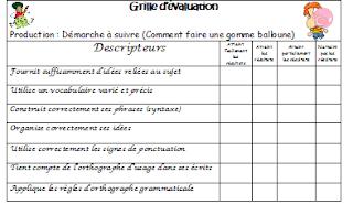 Classe de madame bernice production crite la gomme - Comment faire une grille d evaluation ...