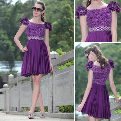 Purple Bateau Short/Mini Dress