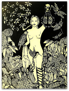 Mistério Noturno - Xilogravura de Lucie Schreimer.