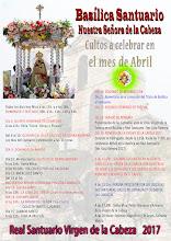 CULTOS MESES DE ABRIL 2017 EN EL SANTUARIO.
