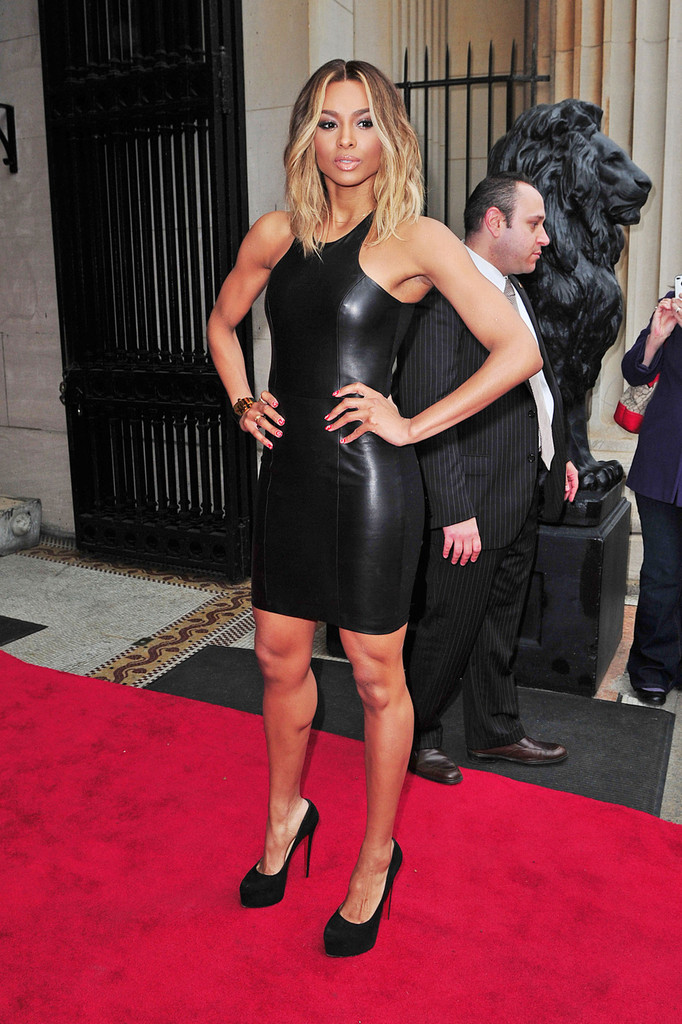 Ciara shows off legs in patterned mini dress for Watch