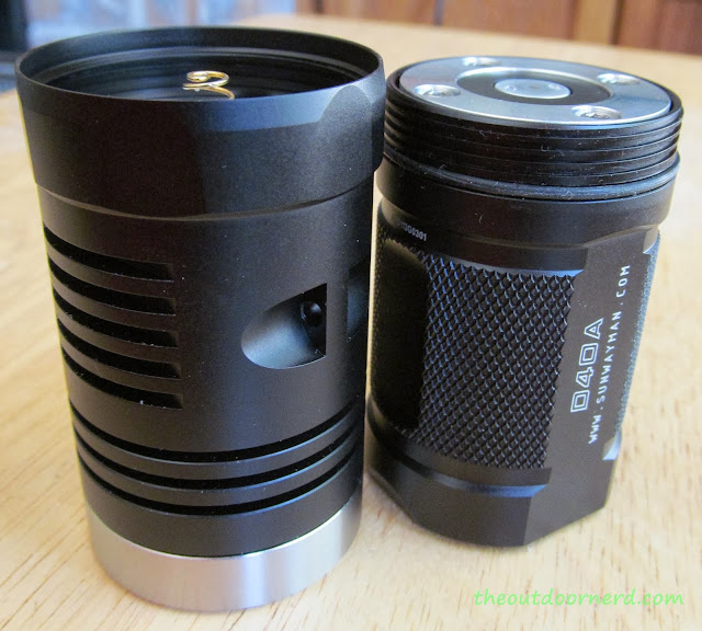 Sunwayman D40A [4xAA Flashlight] - With Head Off: Side View