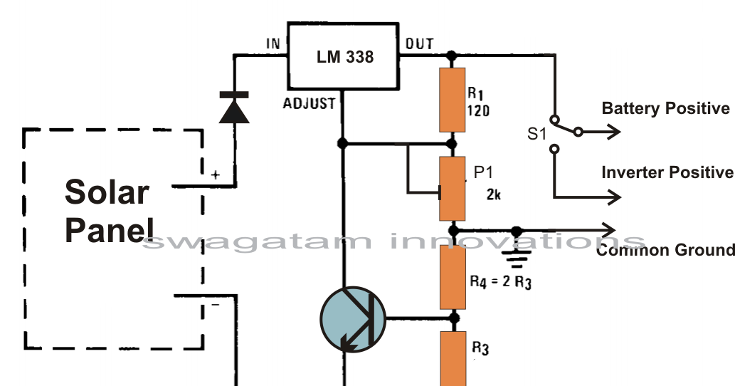 build a solar panel voltage regulator  charger circuit at