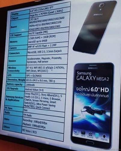 Immagine che mette in mostra il Galaxy Mega 2 e le sue specifiche hardware