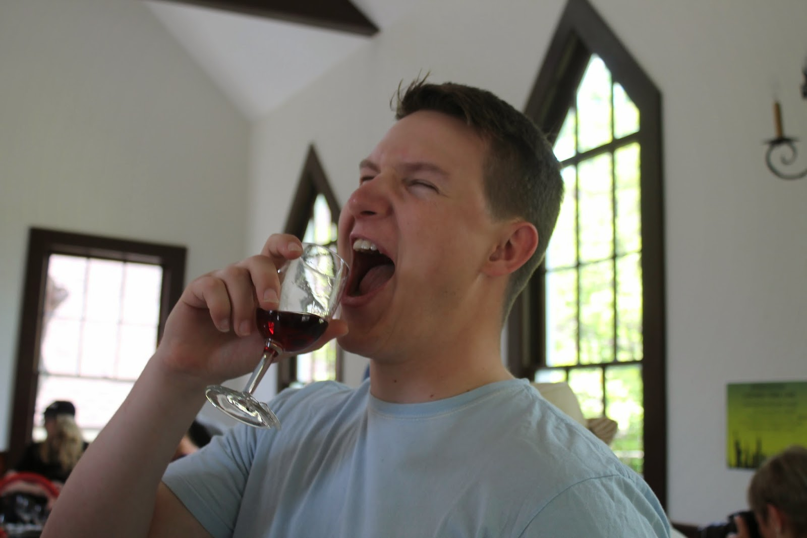 Winey son hamming it up in the tasting room