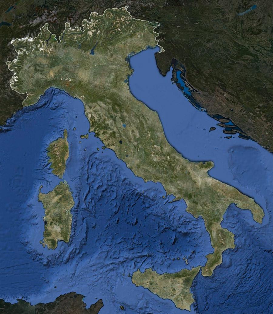 Italia Fisica Cartina Geografica Muta