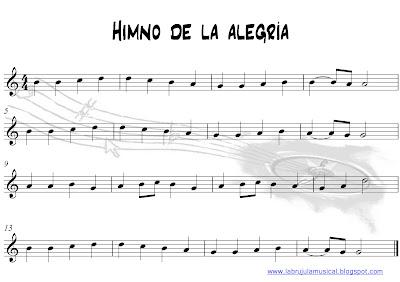 Partitura para flauta dulce Himno de la Alegría Beethoven. La Brújula Musical. Ode to joy Beethoven Recorder sheet music