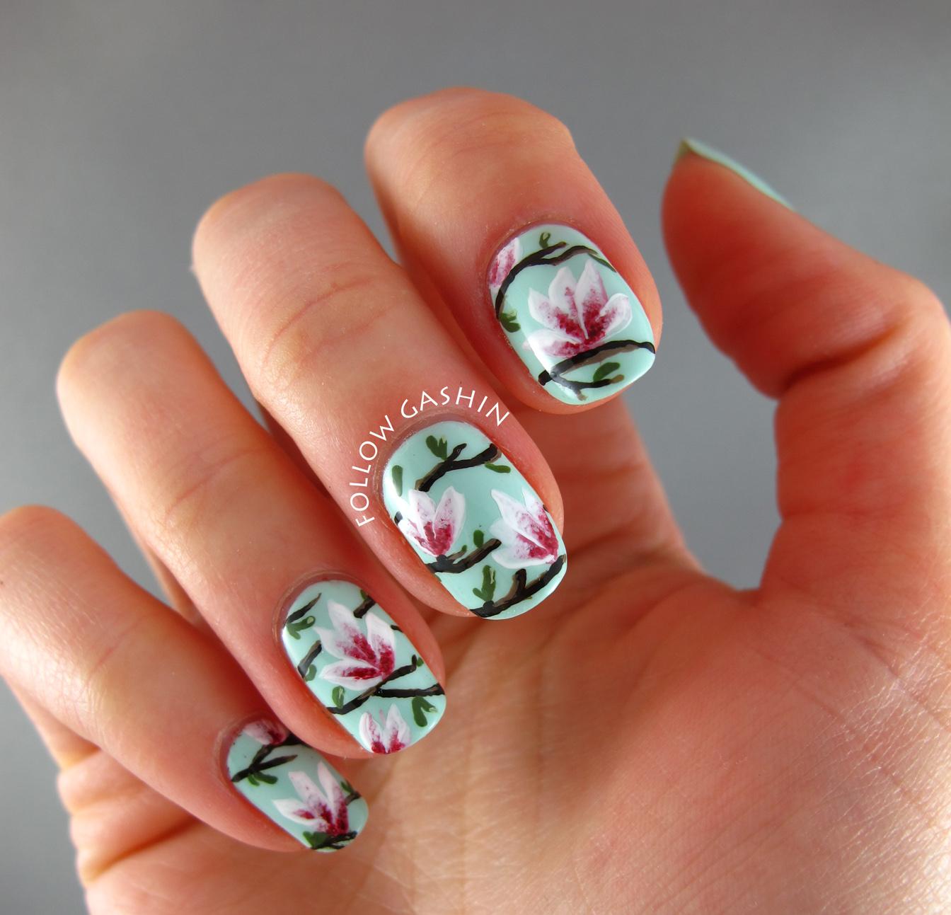 follow gashin: Magnolia Blossoms Nail Art