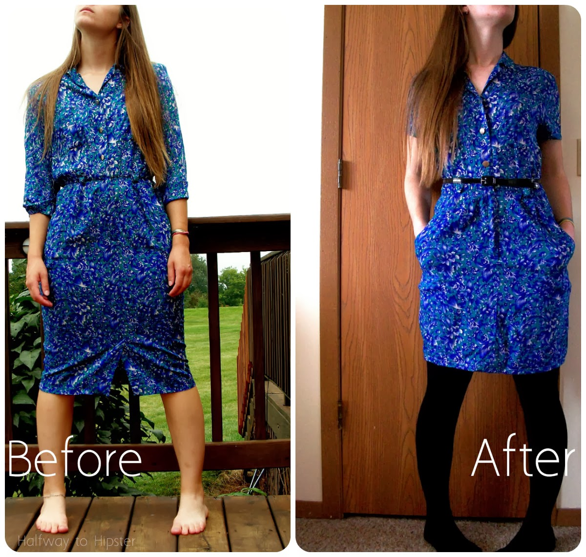 Teal Flowered Dress Refashion