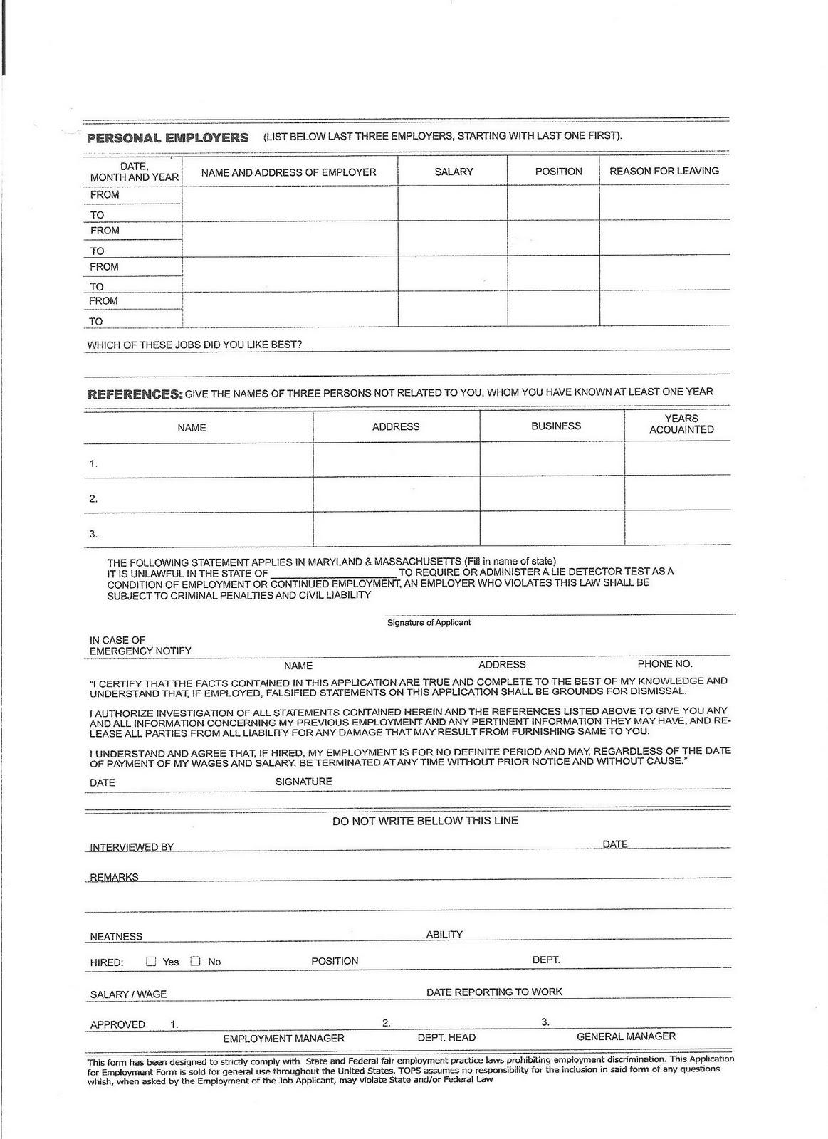 standard job application form template .