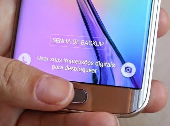 Botão home do Galaxy S6 Edge tem leitor de impressão digital