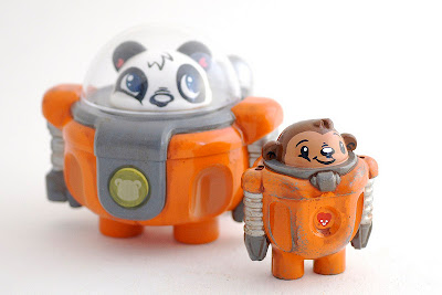 Podgy Panda x Cris Rose Podgonauts Edition A Resin Figures &#8211; Panda Exploration Corp Jupsuit Orange & Monkey Mechanic