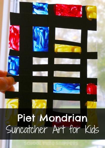 piet mondrian suncatcher art for kids school time snippets. Black Bedroom Furniture Sets. Home Design Ideas