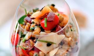 Salada de lentilha com bacalhau light
