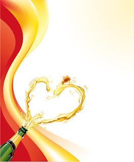 シャンパン ボトルのハート型飛沫 heart-shaped splash of champagne bottles イラスト素材