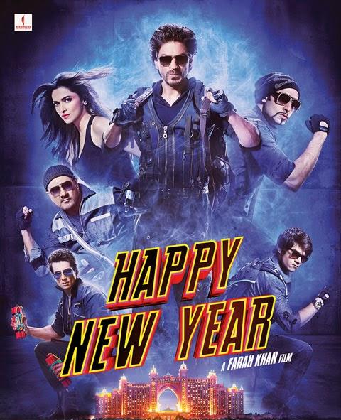 Happy New Year, Directed by Farah Khan, starring Shahrukh Khan, Deepika Padukone, Abhishek Bachchan, Boman Irani, Vivaan Shah, Sonu Sood and Jackie Shroff