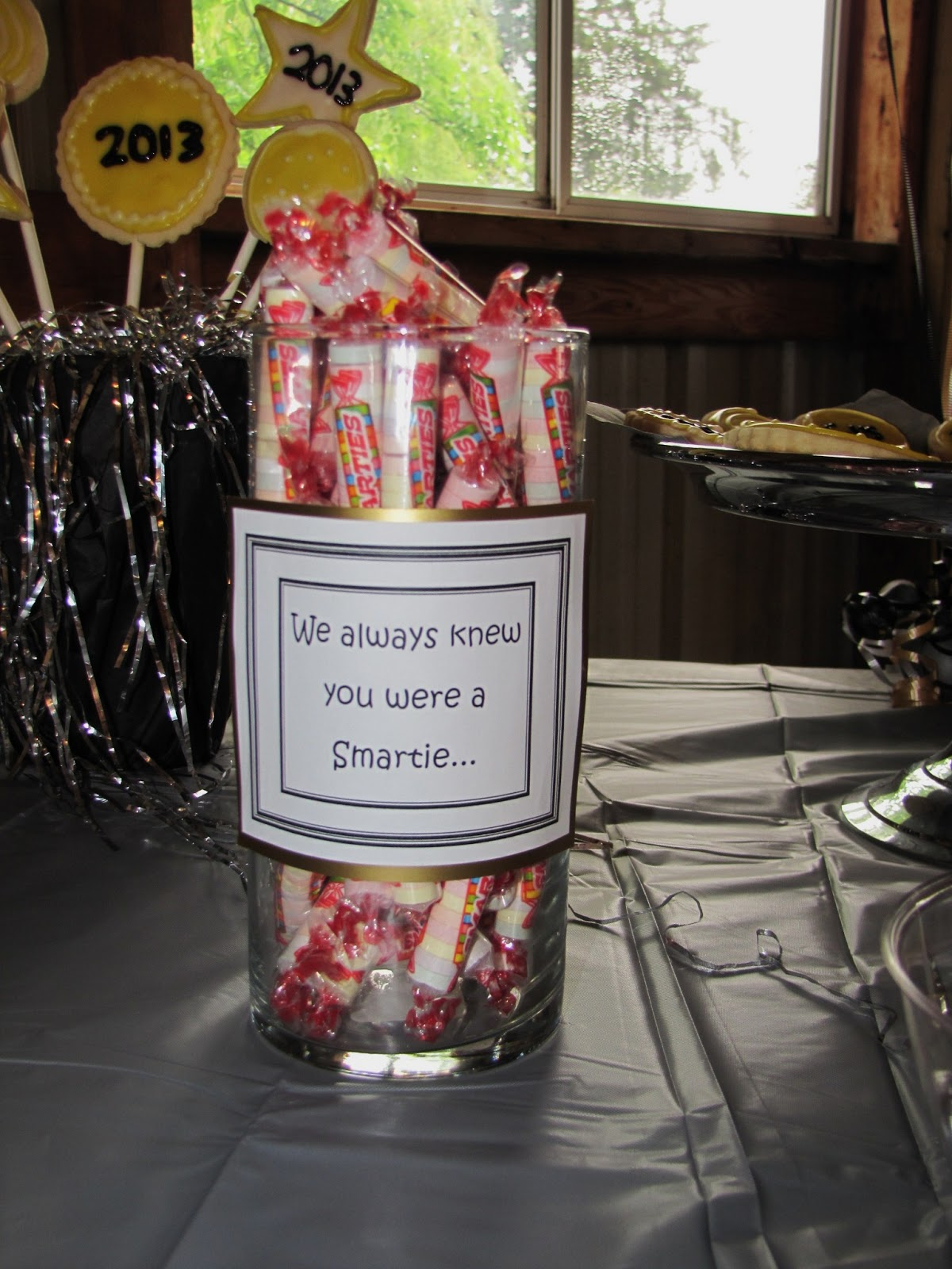 Under the willow graduation party i just bought two clear glass vases at dollar tree love that store printed out the sayings mounted on gold paper then taped to the vases reviewsmspy