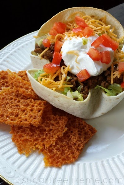 Low Carb Taco Salad with a low carb tortilla shell