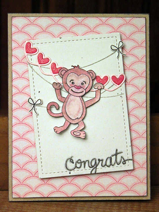 Congrats Monkey card by Larssia Heskett for Newton's Nook Designs | Hanging Around Stamp Set