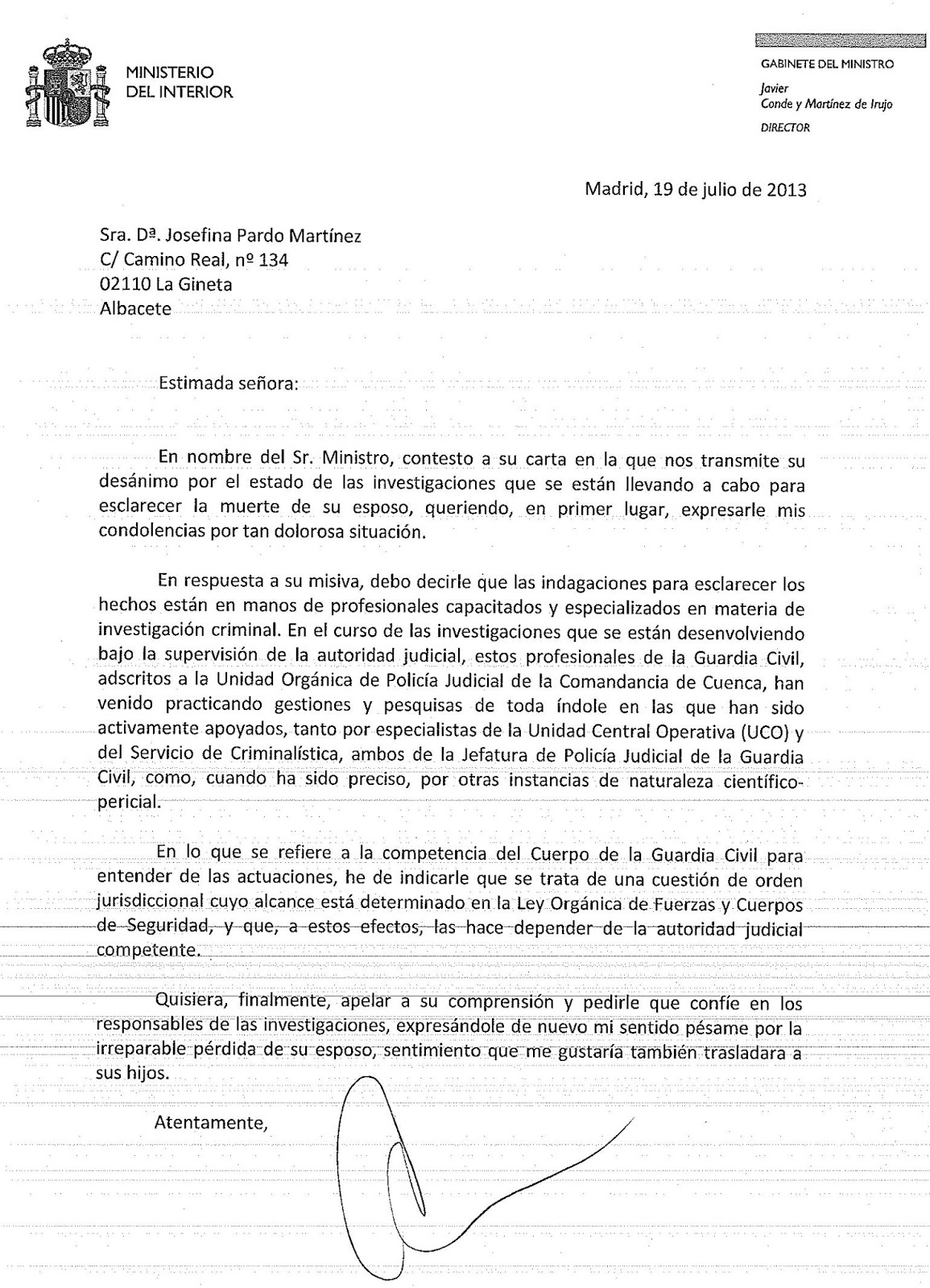 Justicia para marcial hidalgo ambrona carta respuesta for Ministerio interior