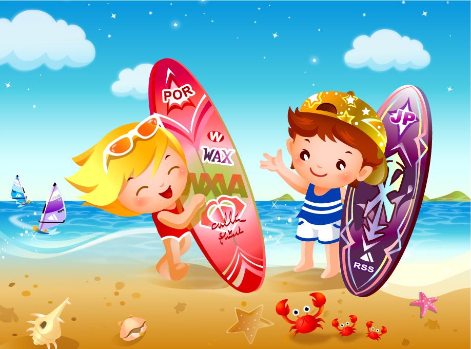 ビーチでサーフィンを楽しむ子供達 children beach surfing vector イラスト素材