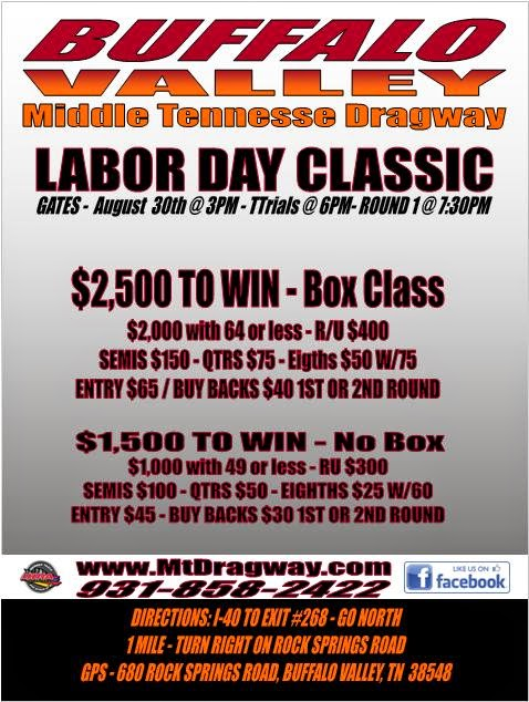 Middle Tennessee Dragway's Labor Day Classic